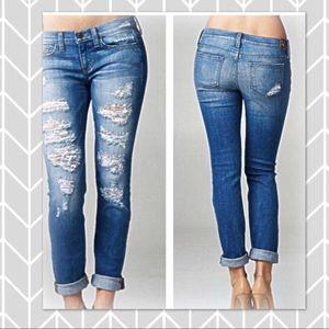 Dark wash Sneak Peek cropped Boyfriend Jeans